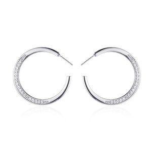 3/$20 New Silver Rhinestone Hoop Earrings